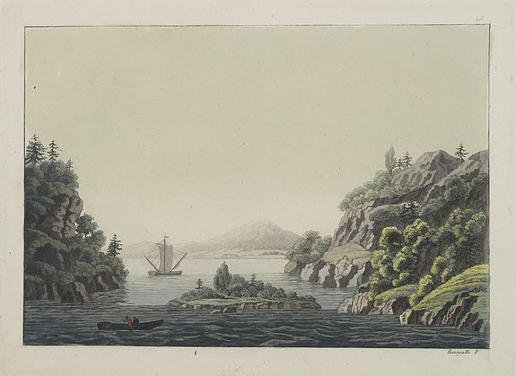 FERRARIO, G.,  [ View of the Potomac River from Mount Vernon ]., antique map, old maps