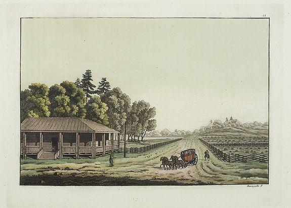 FERRARIO, G. -  [ View of an inn and a horse carriage. ].