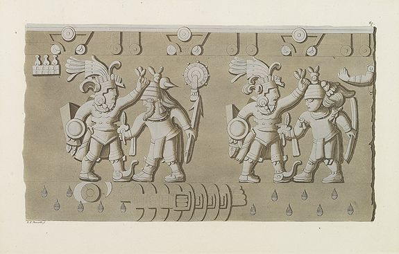 FERRARIO, G. -  [ Aztec low relief representing ancient warriors ].