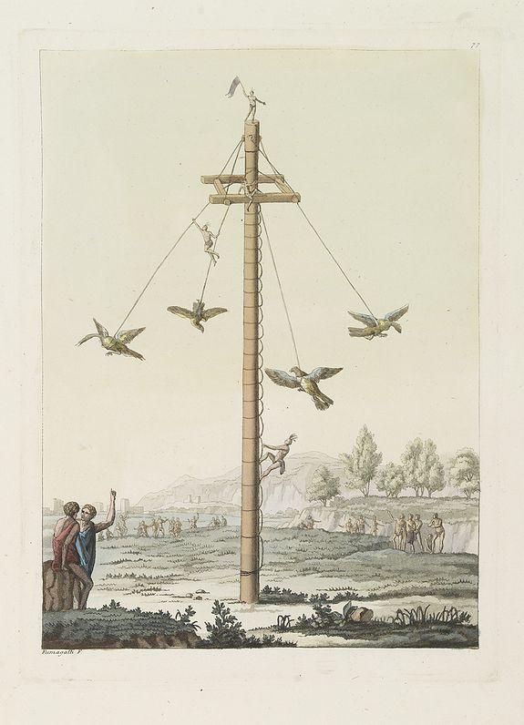 FERRARIO, G. -  [ Local Mexican Indian game, the Voladores de Papantla ].