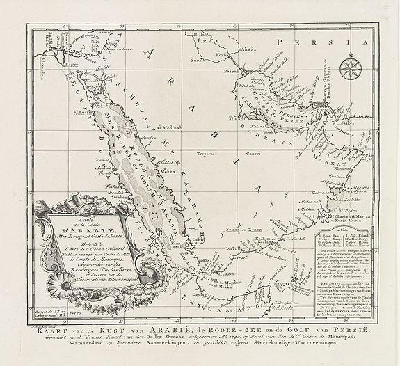 HARREVELT,E.van / CHANGUION, D.J. -  Carte de la Coste d'Arabie.