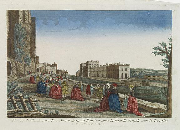 CHEREAU. -  Vue de la Partie Sud Est du Château de Windsor avec la Famille Royale sur la Terrasse. Et vue du Palais de la Reine.