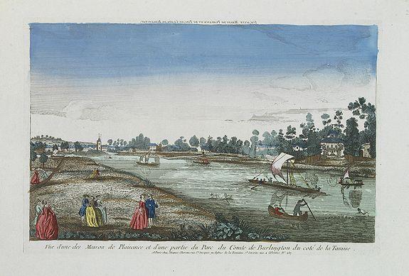 CHEREAU. -  Vue d'une des Maison de Plaisance et d'une partie du Parc du Comte de Burlington du Coté de la Tamise.