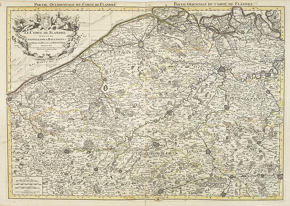 JAILLOT, H. / MORTIER, P. -  Le Comte de Flandre  divisé en ses Chastellenies et Balliages &c  le Franc de Bruges et le Pays de Waes. . .