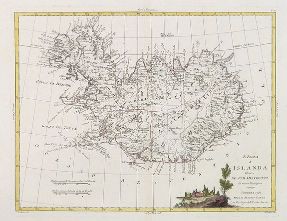 ZATTA, A. -  L'Isola d'Icelanda Divisa Ne Suoi Distretti Di nuova Projezione.