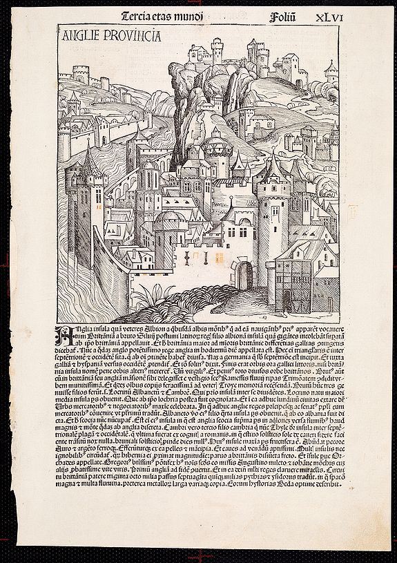 SCHEDEL, H. - Anglie Provincia -Tercia estas mundi and  Salomon's genealogy tree XLVI