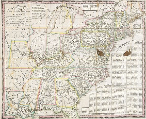 TANNER, H.S.,  The Traveller's Guide. A Map Of The Roads, Canals And Steam Boat Routes Of The United States ... Designed for the use of Travellers, By H.S. Tanner., antique map, old maps
