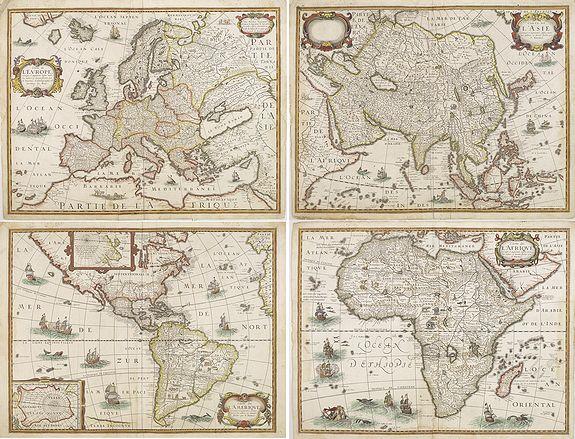 BERTIUS, P./ TAVERNIER, M. - Rare set of 4 continent maps.
