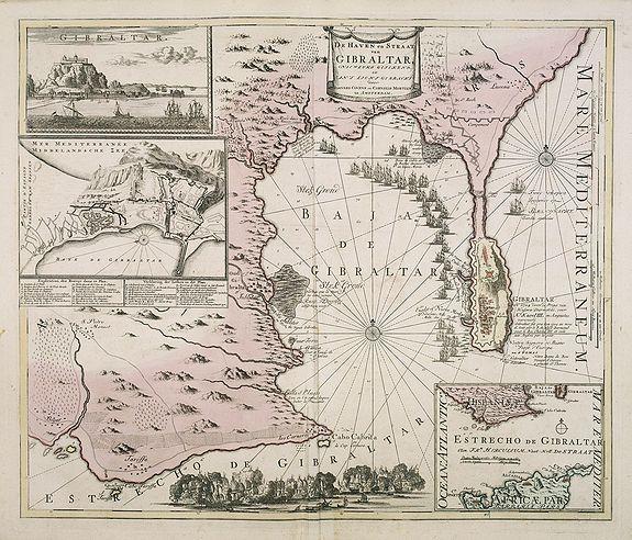 COVENS, J./ MORTIER, C. -  De Haven en Straat von Gibraltar, Niewlyks getekend, en in`t licht gebracht door Johannes Covens en Cornelis Mortier tot Amsterdam.
