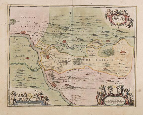 JANSSONIUS, J. -  Le Duché d'Aiguillon Tracé Par le Sr. Du Vall.