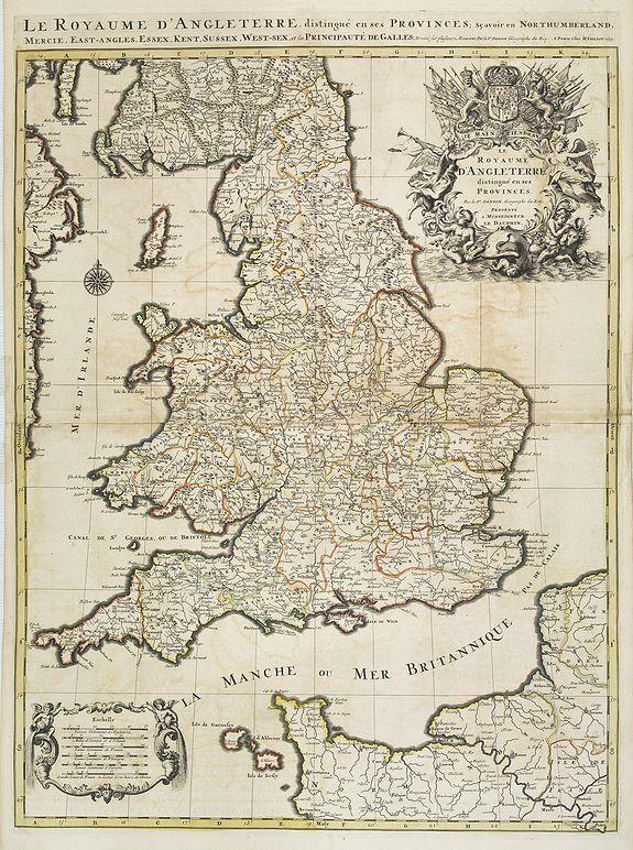 SANSON, N. / JAILLOT, A.H. / MORTIER, P. -  Le Royaume d'Angleterre distingué en ses provinces.