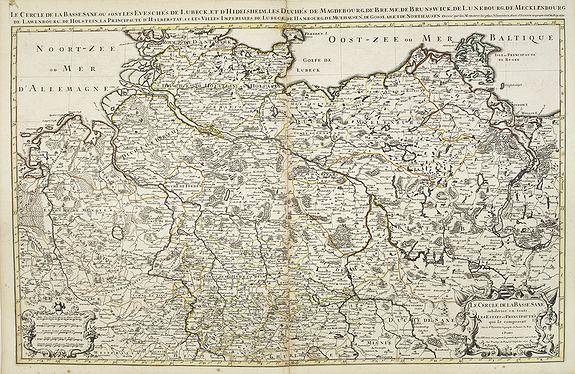 SANSON, N. / JAILLOT, A.H. / MORTIER, P. -  Le cercle de la Basse Saxe subdivisé en touts les estats et principautés qui le composant . . .