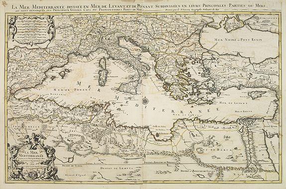 SANSON, N. / JAILLOT, A.H. / MORTIER, P. -  La mer Mediterranee divisee en ses principales parties ou mers. . .