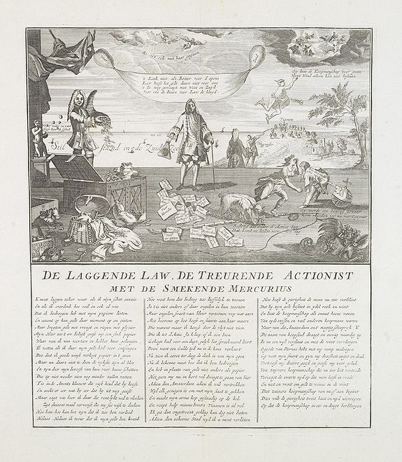 [ANONYMOUS]., De laggende Law, de treurende actionist met de smekende Mercurius. [Law laughing, the shareholders mourning, and Mercury entreating.], antique map, old maps