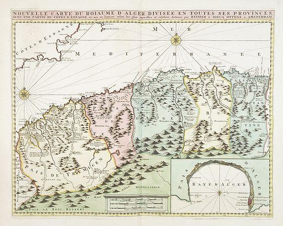 OTTENS, R. / J. -  Nouvelle carte du Roiaume D'Alger divisée en toutes ses provinces, avec une partie due cotes D'Espagne . . .