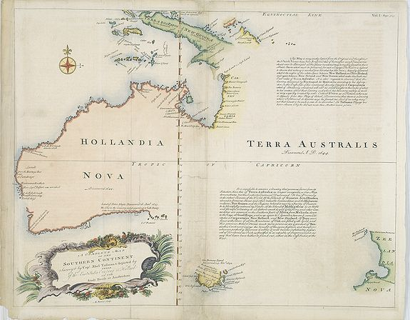 BOWEN, E.,  A Complete Map of the Southern Continent Survey'd by Capt. Abel Tasman & depicted by Order of the East Indian Cmpany in Holland In The Stadt House at Amsterdam., antique map, old maps