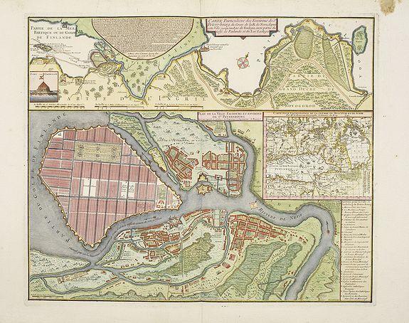 DE BEAURAIN -  Carte particulière des environs de St Peters-bourg. . . / Plan de la ville faubourg et environs de St Petersbourg. . . / Carte pour l'intelligence de la guerre de Moscovie et de Suede. . .