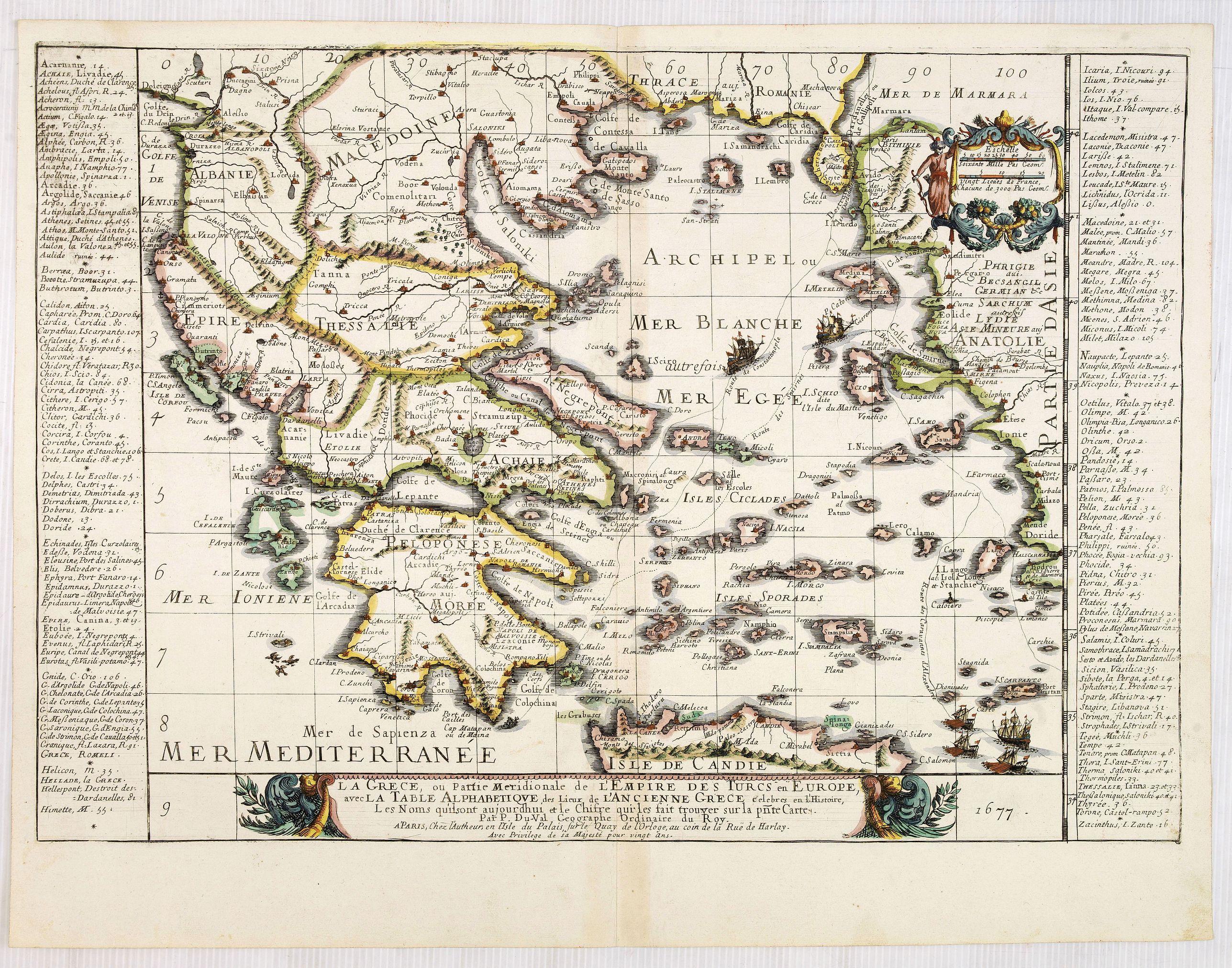 DU VAL, P. -  La Grece, ou Partie Meridionale de L'Empire De Turcs en Europe, avec La Table Alphabetique . . .