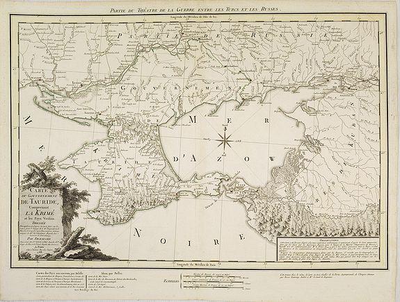 DEZAUCHE, J-C. -  Carte du Gouvernement de Tauride, comprenant la Krimée et les pays voisins: dressée principalement d'après la carte faite sur les lieux pour le voyage de S.M. l'impératrice de Russie. . .