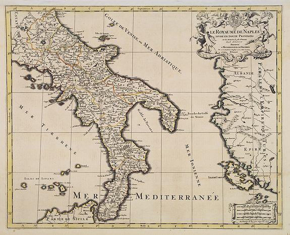 JAILLOT, H. / MORTIER, P. -  Le royaume de Naples divise en 12 provinces.