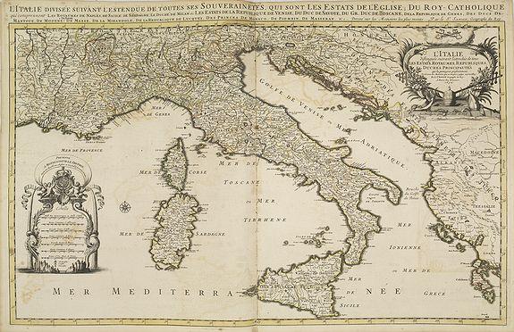 JAILLOT, H. / MORTIER, P. -  L'Italie distinguee suivant l'estendue de tous les estats. . .