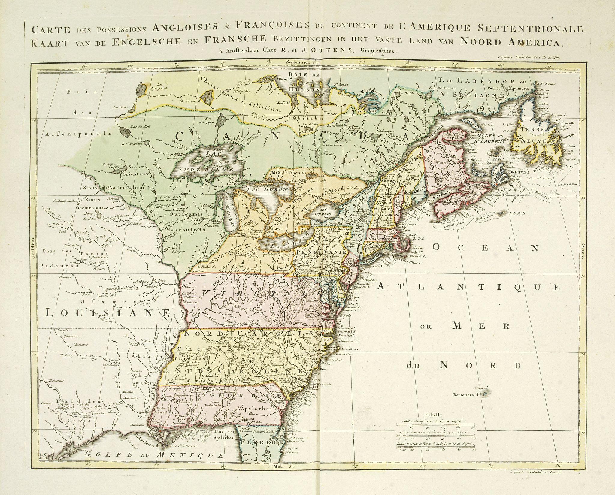 OTTENS, R. / I. -  Carte des possessions Angloises et Françoises du continent de l'Amerique Septentrionale. / Kaart van de Engelsche en Fransche bezittingen . . .
