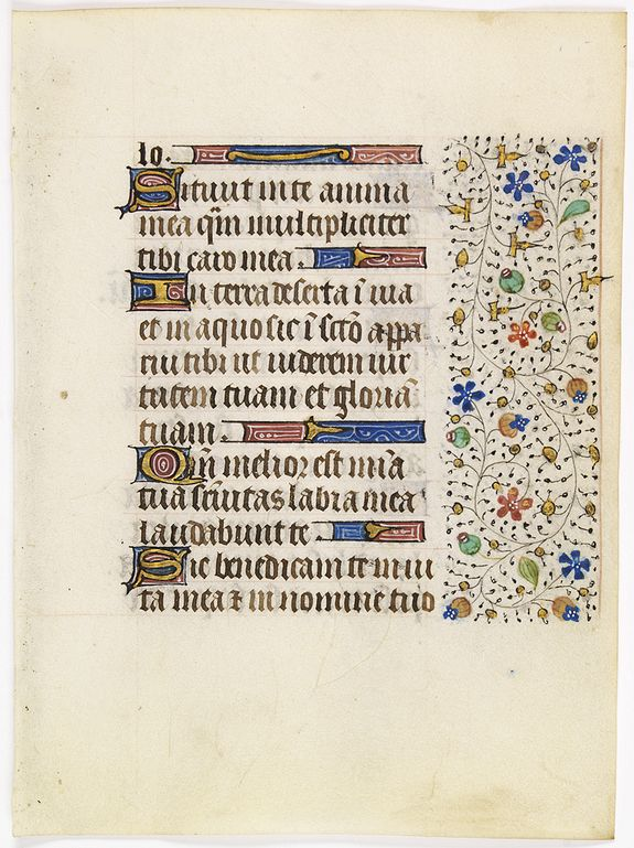 FRANCISCAN BOOK OF HOURS -  Leaf on vellum from a manuscript Book of Hours, use of Rome.