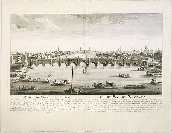 CHEREAU, J. / AVELINE, P.A. -  A view of Westminster bridge.  Vue du pont Westminster.