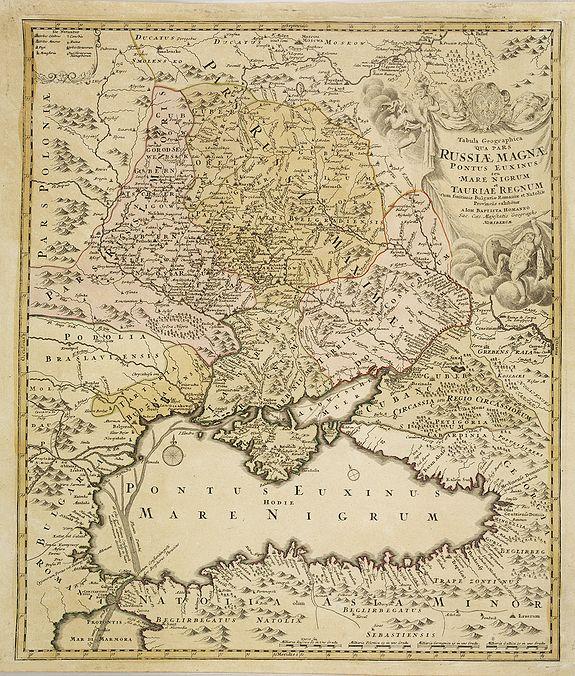 HOMANN, J.B. -  Tabula geographica Russiae Magnae pontus euxinus seu mare nigrum et tauriae regnum. . .