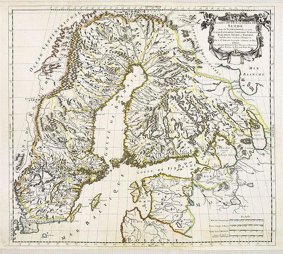 SANSON, N. -  EStats de la Couronne de Suede dans la Scandinavie, ou Sont Suede, Gotlande, Lapponie Suedoise, Finlande, Ingrie et Livonie Subdivisées en leurs Provinces . . .