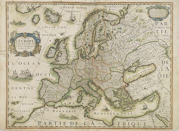 BERTIUS, P. / TAVERNIER, M. -  Carte de L'Europe, corrigée et augmentée desus toutes les autres cy ..