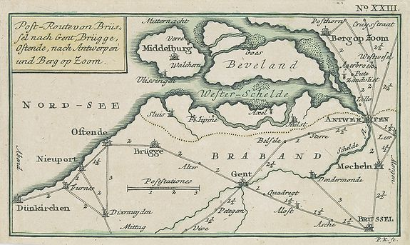 KUFNER, P. -  Post-Route von Brüssel nach Gent, Brügge, Ostende, nach Antwerpen und Bergen op Zoom. N°XXIII