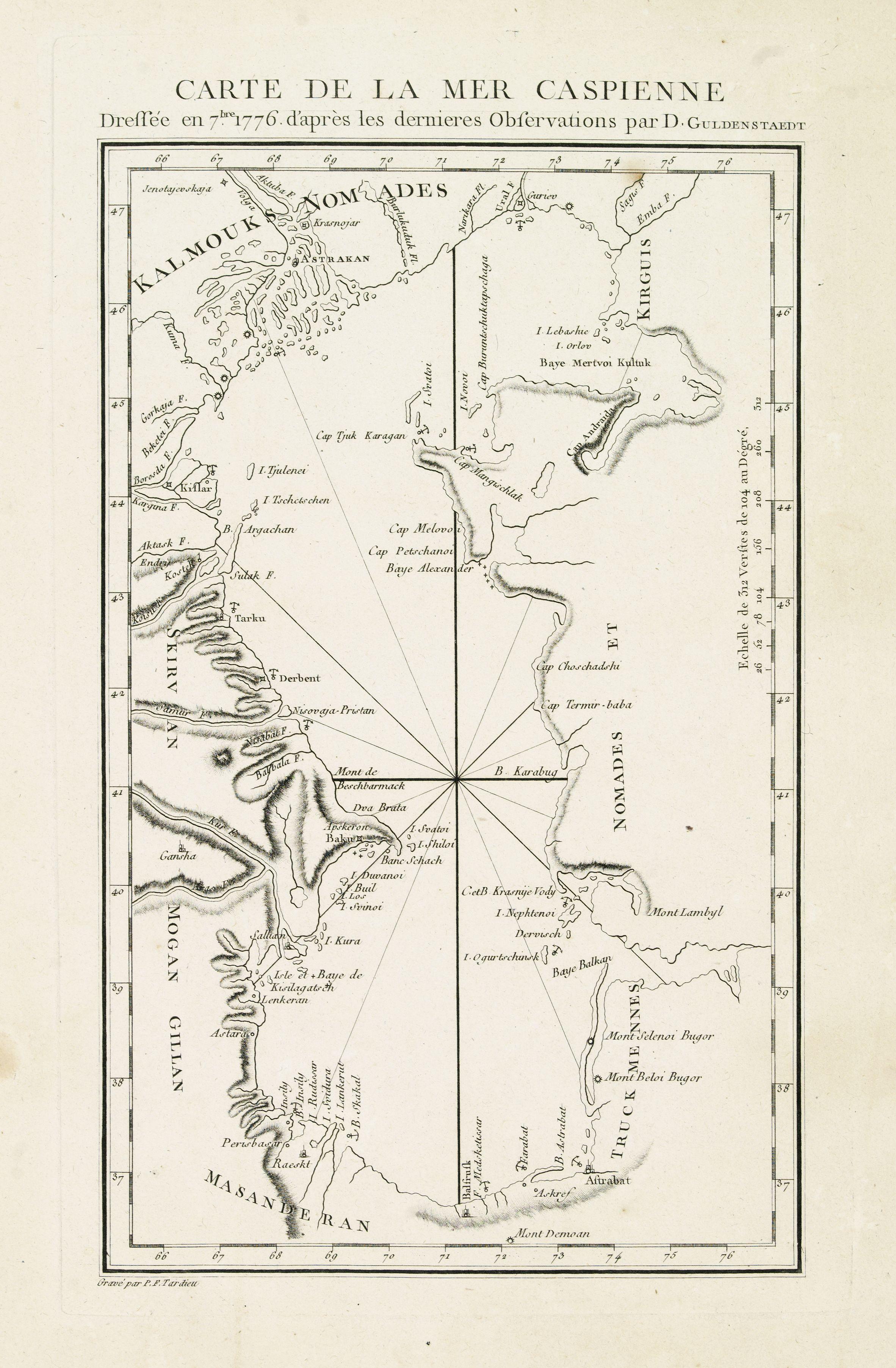 GULDENSTAEDT, J.A. -  Carte de la Mer Caspienne dressée en 7bre 1776 d