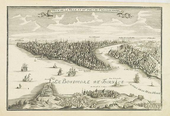 De FER, N -  Veue de la ville et du port de Constantinople.