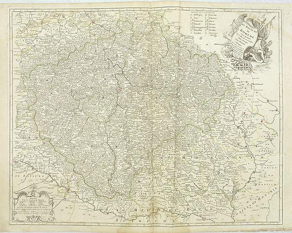LE ROUGE / MULLER, J.C. -  Le Royaume de Boheme. Carte reduite sur celle de 25 feuilles faite a Prague, par Müller, a Paris. Par et chez le sieur leRouge Ingr. Géographe du Roy . . .