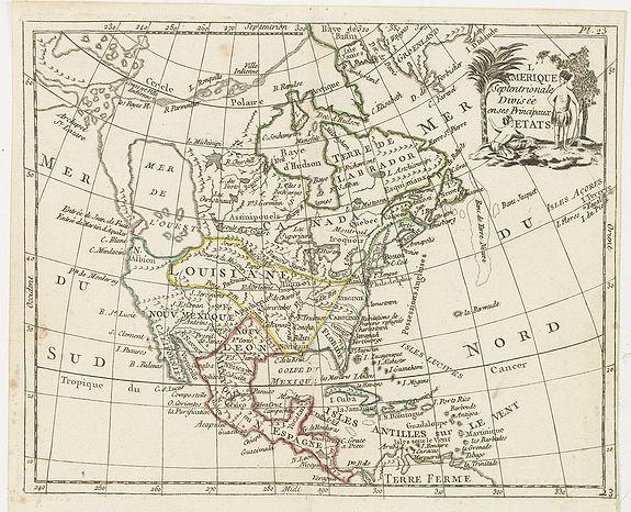PORTE, De La, -  L'Amerique septentrionale divisee en ses principaux etats.