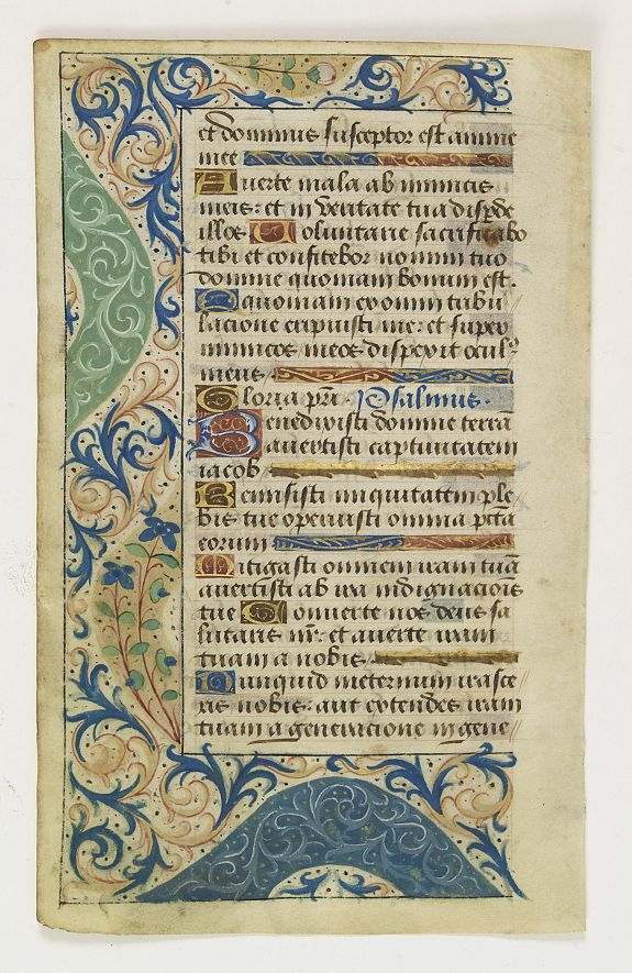 BOOK OF HOURS -  Manuscript leaf from a Book of Hours on vellum.