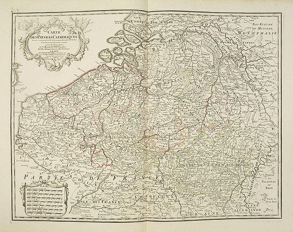 DELISLE, G ./ BUACHE, Ph. / DEZAUCHE, J. -  Carte Des Pays Bas Catholiques Dressée. . .
