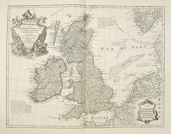 DELISLE, G. / DEZAUCHE, J. A. / DEZAUCHE -  Les Isles Britanniques ou sont le Rme. D'Angleterre . . . Par G. De L'Isle. . . A Paris Chez Dezauche. . .
