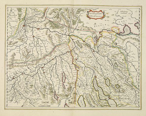 BLAEU, W. -  Zurichgow et Basiliensis Provincia [ Zurich].
