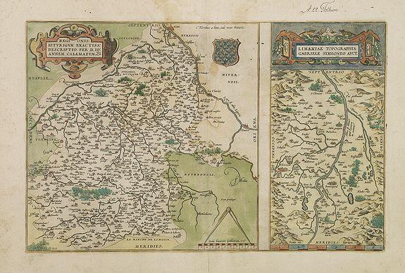 ORTELIUS, A. -  Regionis Biturigum... Per Ioannem Calamaeum. / Limaniae Topographia Gabriele Symeoneo Auct.