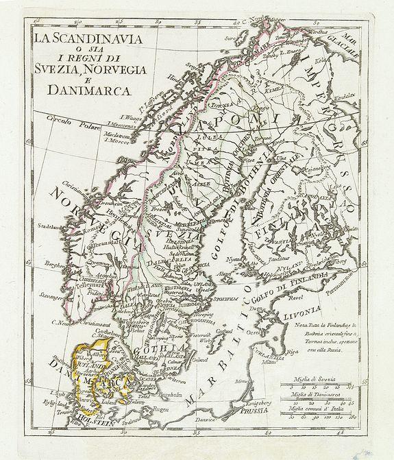 OLIVERI -  La Scandinavia o sia i regni di Svezia, Norvegia e Danimarca.