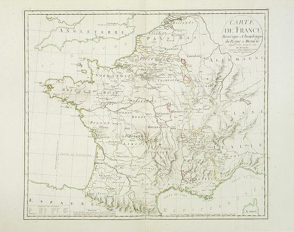 DEZAUCHE, Ph. -  Carte de France historique et chronologique du regne de Henri IV. . .