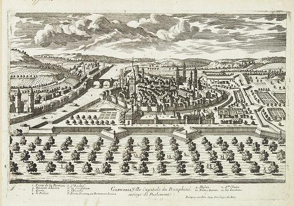 AVELINE, P. A. -  Grenoble, Ville capitale du Dauphiné et siège de Parlement.