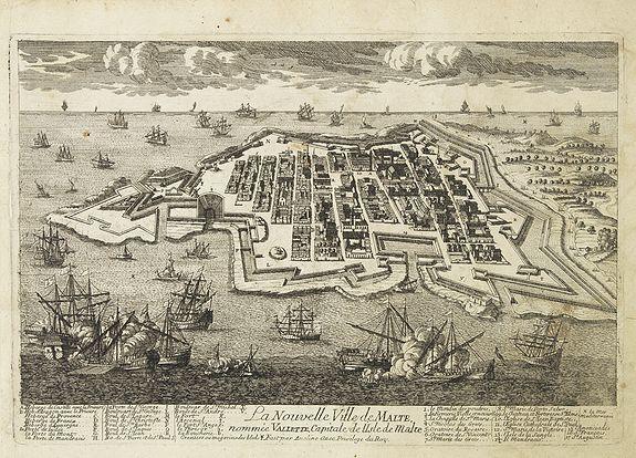 AVELINE, P.A.,  La Nouvelle Ville de Malte nomm�e Valette, capitale de l'isle de Malte. . ., antique map, old maps