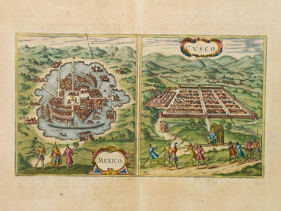 JANSSONIUS, J. - Mexico, Regia et Celebris Hispaniae Novae Civitas ... [on sheet with] Cusco, Regni Peru in Novo Orbe Caput.