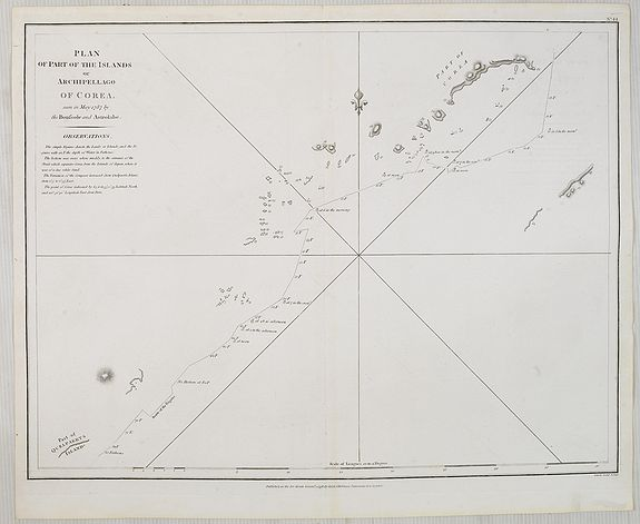 LA PEROUSE, J.F.G.,  Plan of part of the Islands or Archipelago of Corea., antique map, old maps