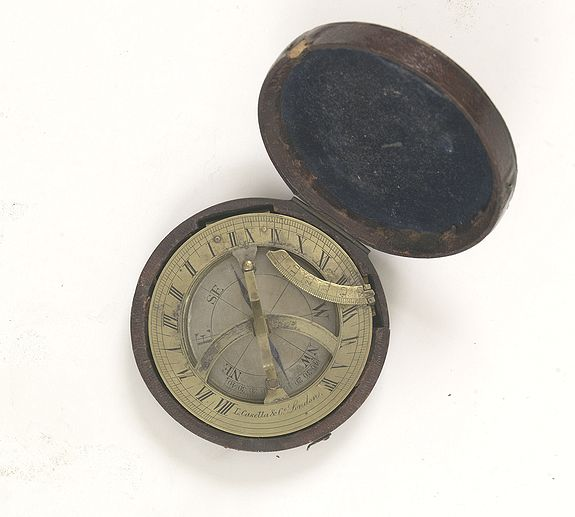 CASELLA, L. & Co.,  Pocket brass sundial with magnetic compass and hardwood case., antique map, old maps