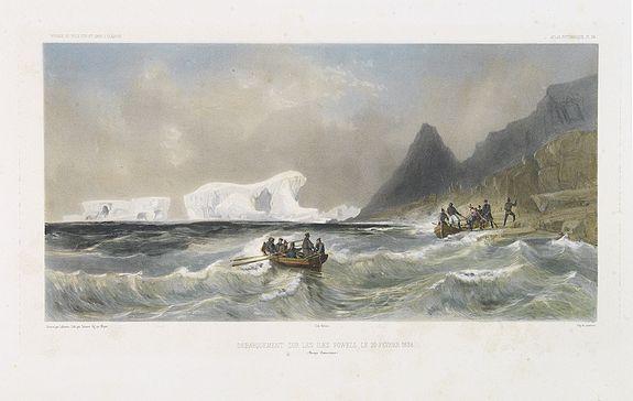 DUMONT D'URVILLE, J. -  Débarquement sur les iles Powell, le 20 février 1838.