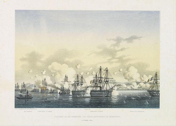 LANGLUME./ LE BRETON, L. -  L'escadre alliée bombarde les forts extérieurs de Sébastopol. (18 octobre 1854)